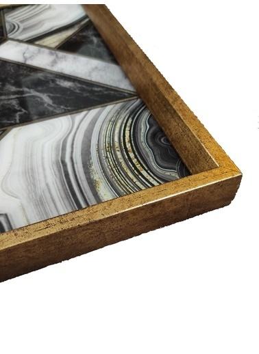 Arte Casero Cam Baskı Siyah Mermerl Tepsi 40x40 CM Renkli